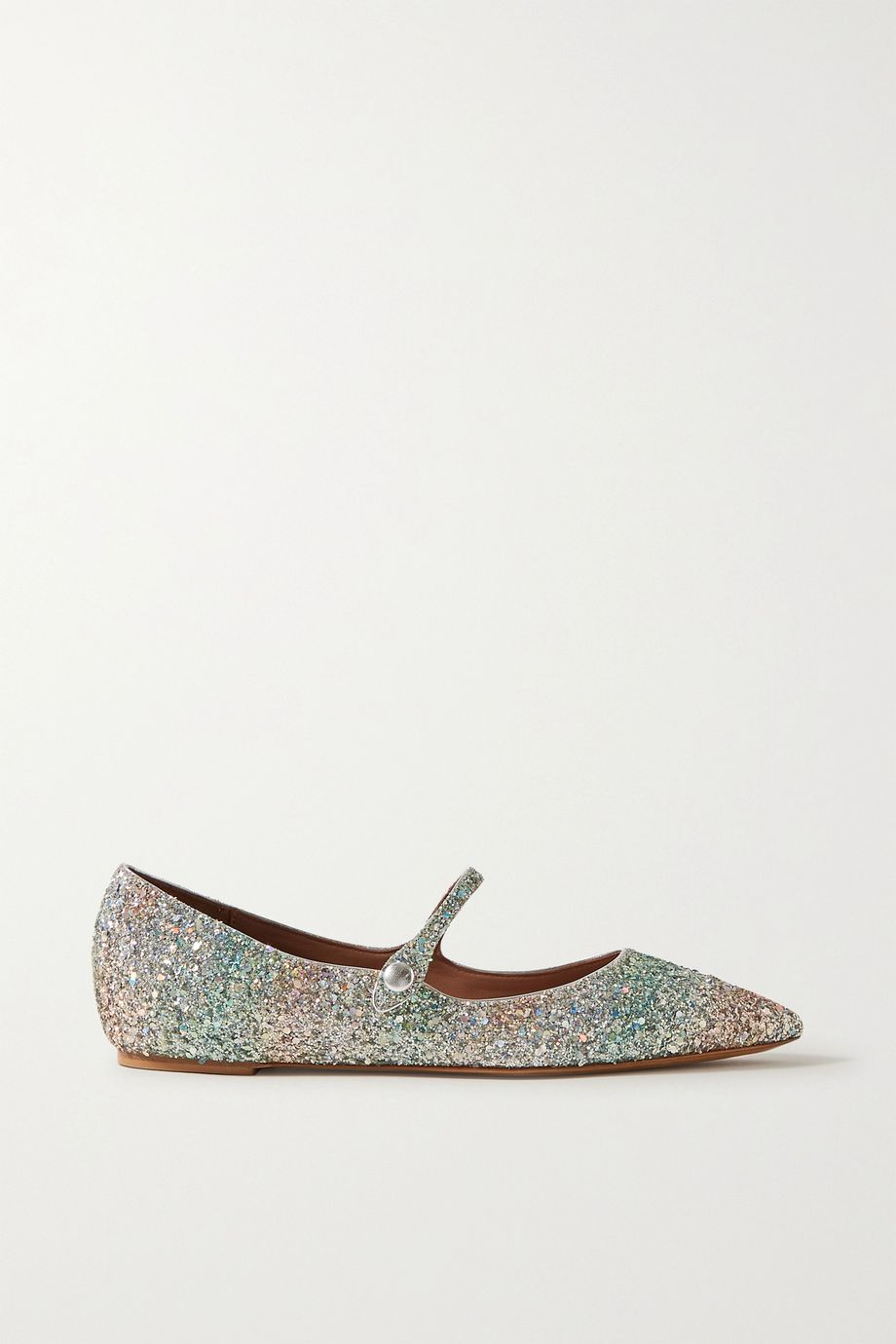 Tabitha Simmons Hermione glittered metallic leather point-toe flats