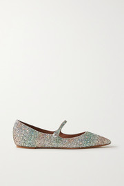 Tabitha Simmons Hermione glittered metallic leather point-toe flats
