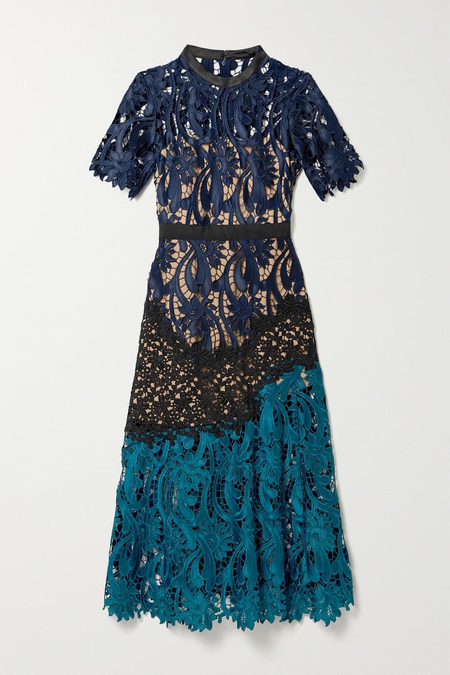 Self-Portrait Satin and grosgrain-trimmed paneled guipure lace midi dress