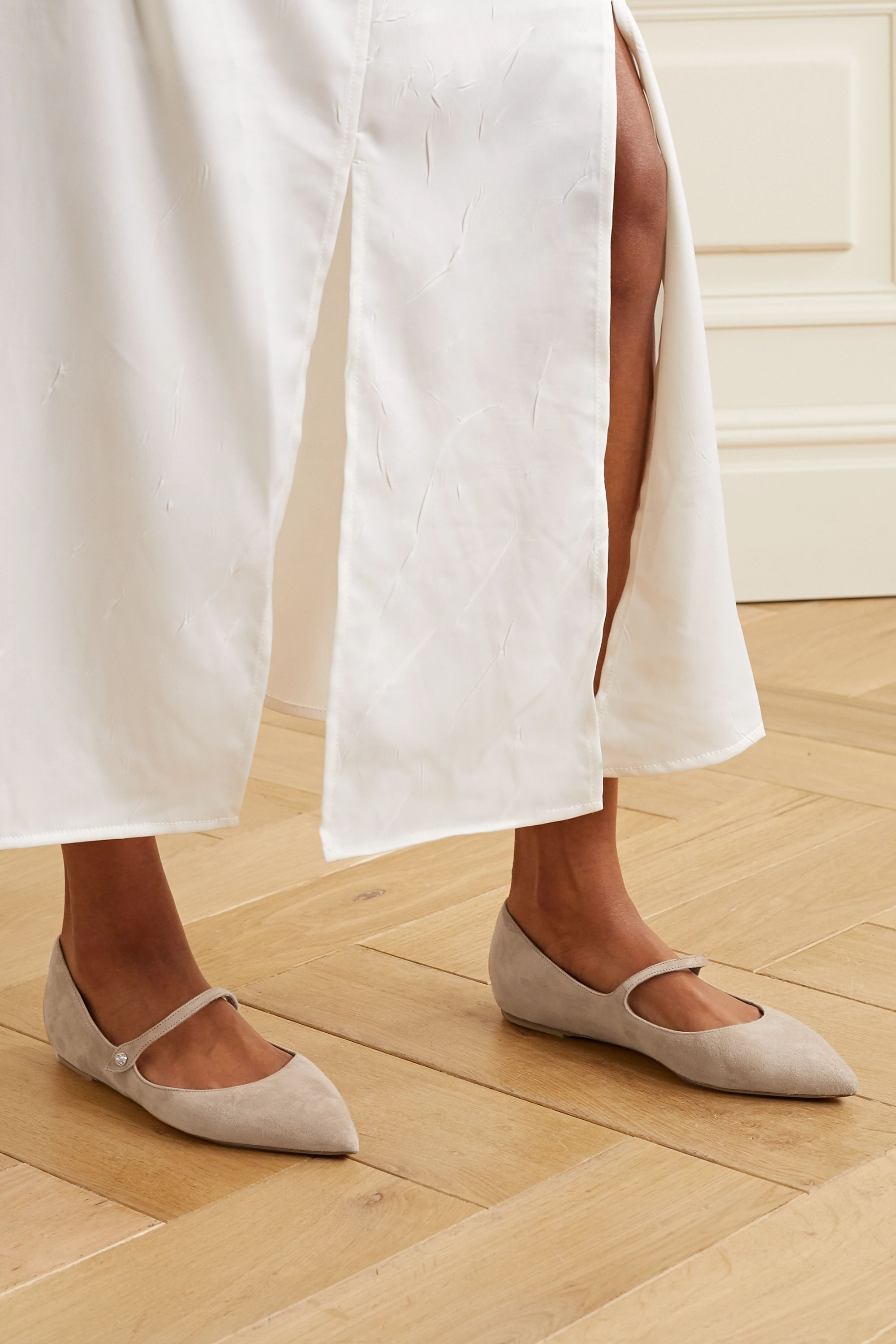 Beige Hermione suede point-toe flats