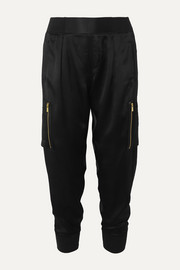 ATM Anthony Thomas Melillo Silk-satin tapered track pants