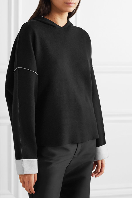 Oversized two-tone cotton-blend hoodie