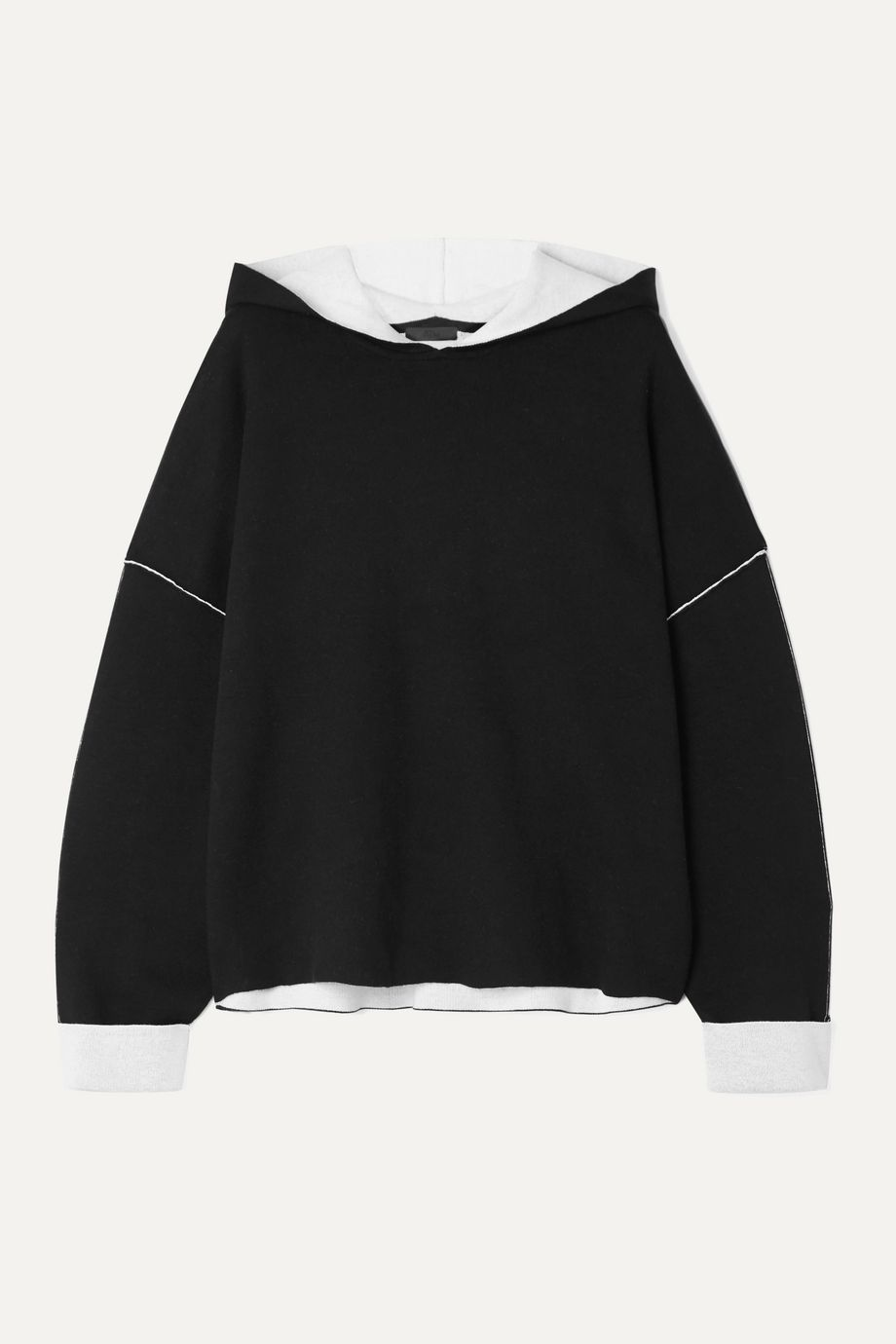 ATM Anthony Thomas Melillo Oversized two-tone cotton-blend hoodie