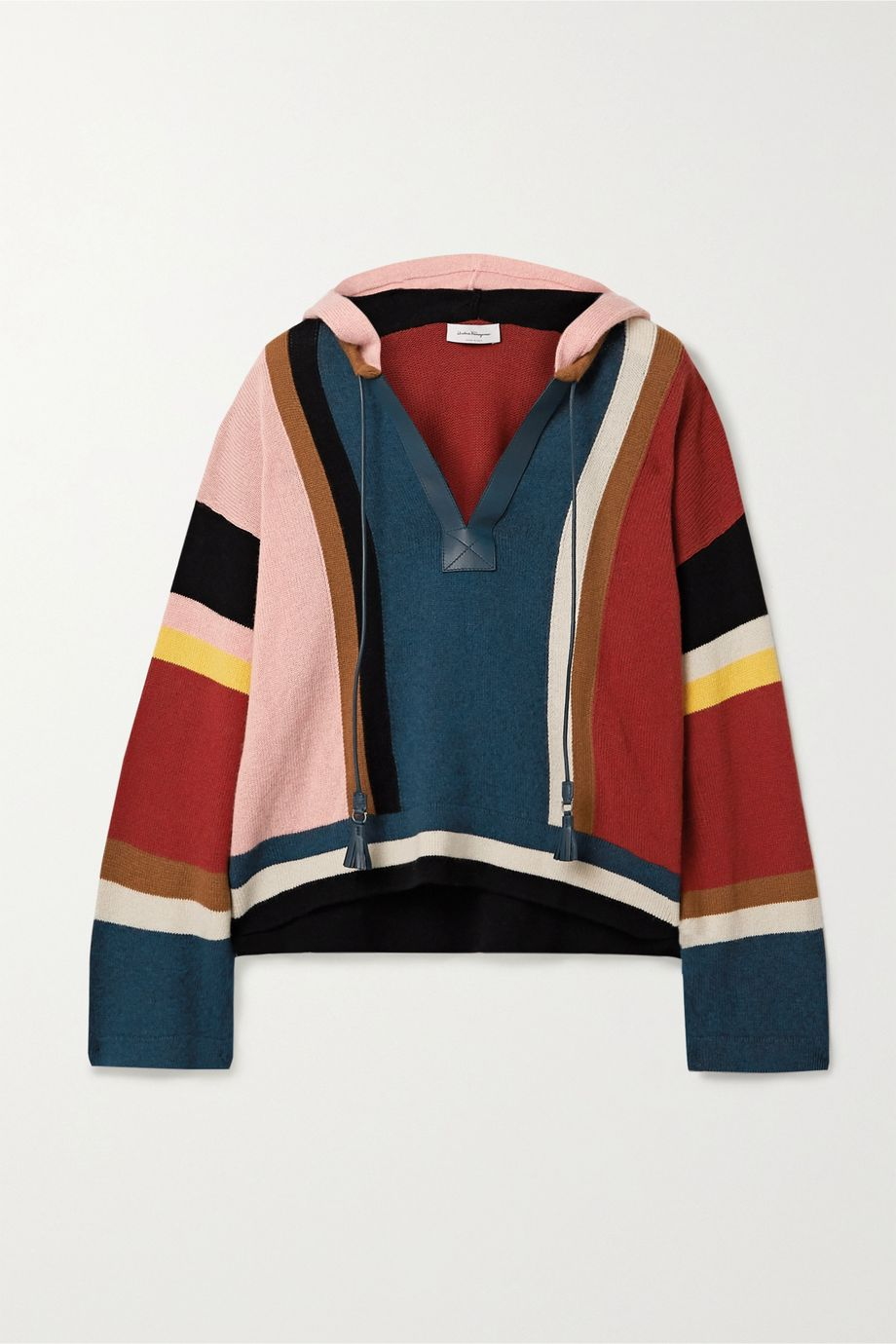 Salvatore Ferragamo Leather-trimmed color-block cashmere and cotton-blend hoodie