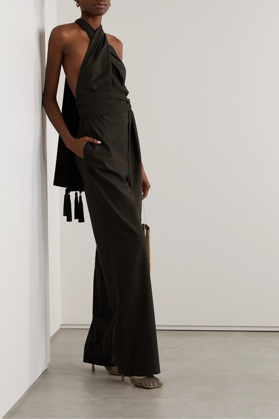 Salvatore Ferragamo Belted leather-trimmed wool-twill halterneck jumpsuit