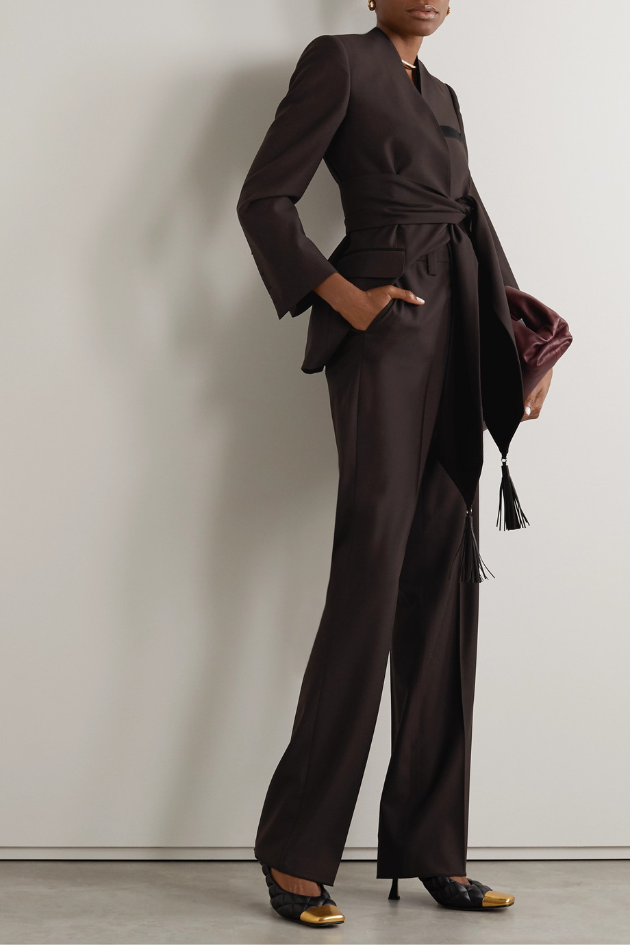 Salvatore Ferragamo Wool-twill straight-leg pants