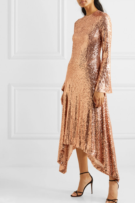 Asymmetric sequined tulle gown