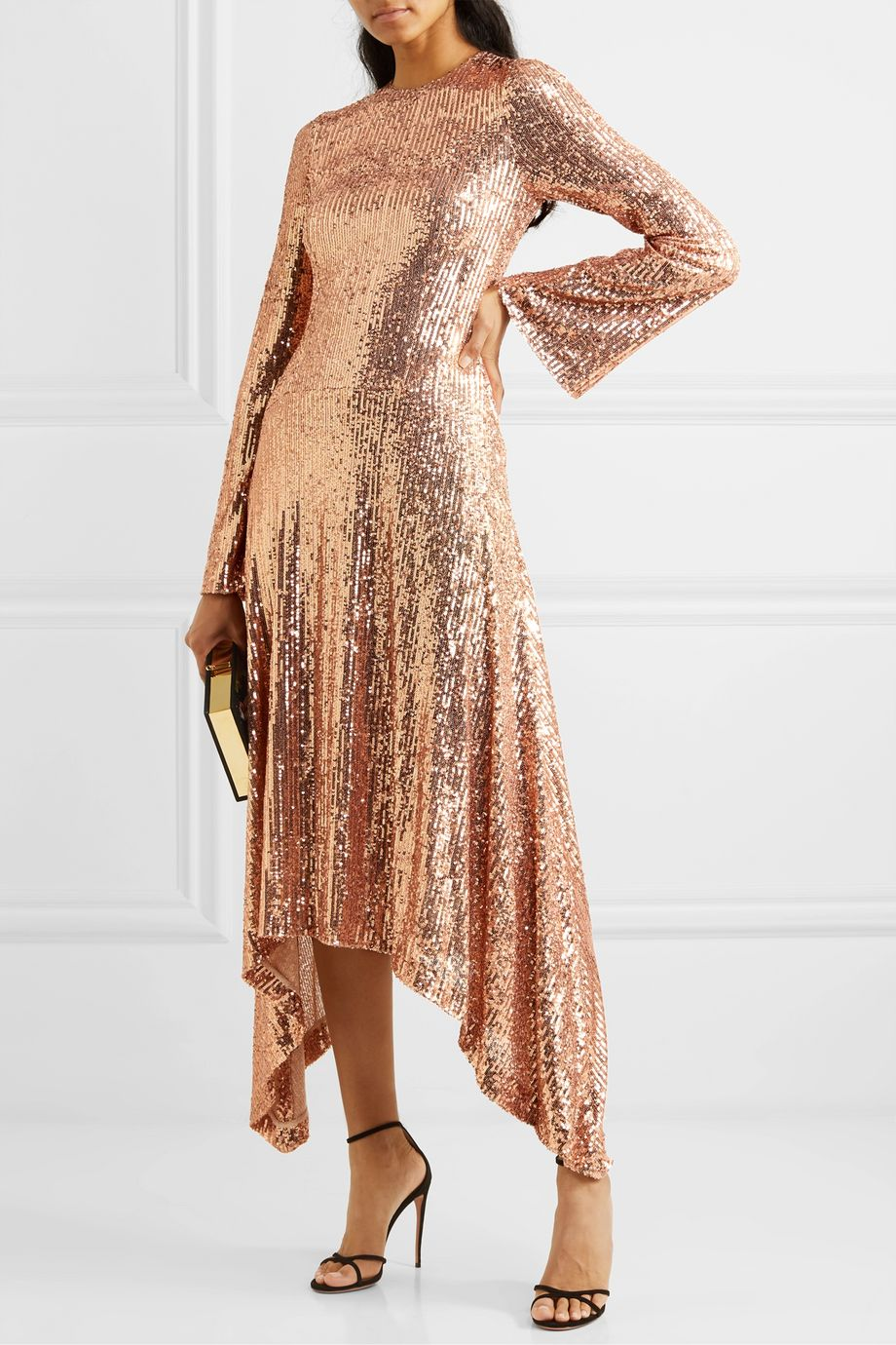 Galvan Asymmetric sequined tulle gown