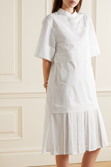 Pleated voile-trimmed cotton-blend poplin dress