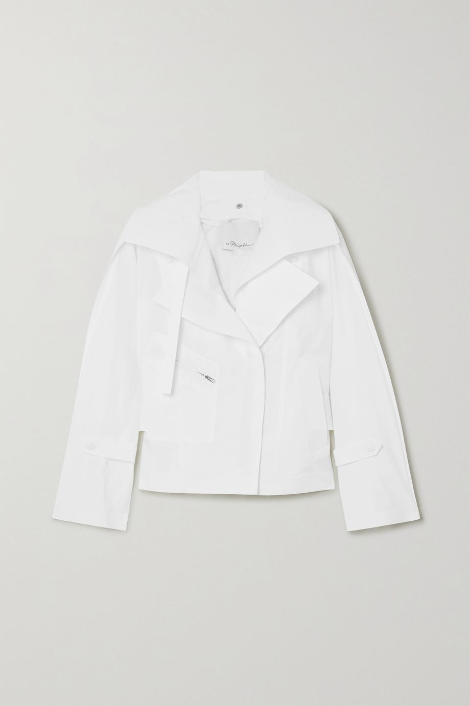 3.1 Phillip Lim Belted cotton-blend poplin biker jacket