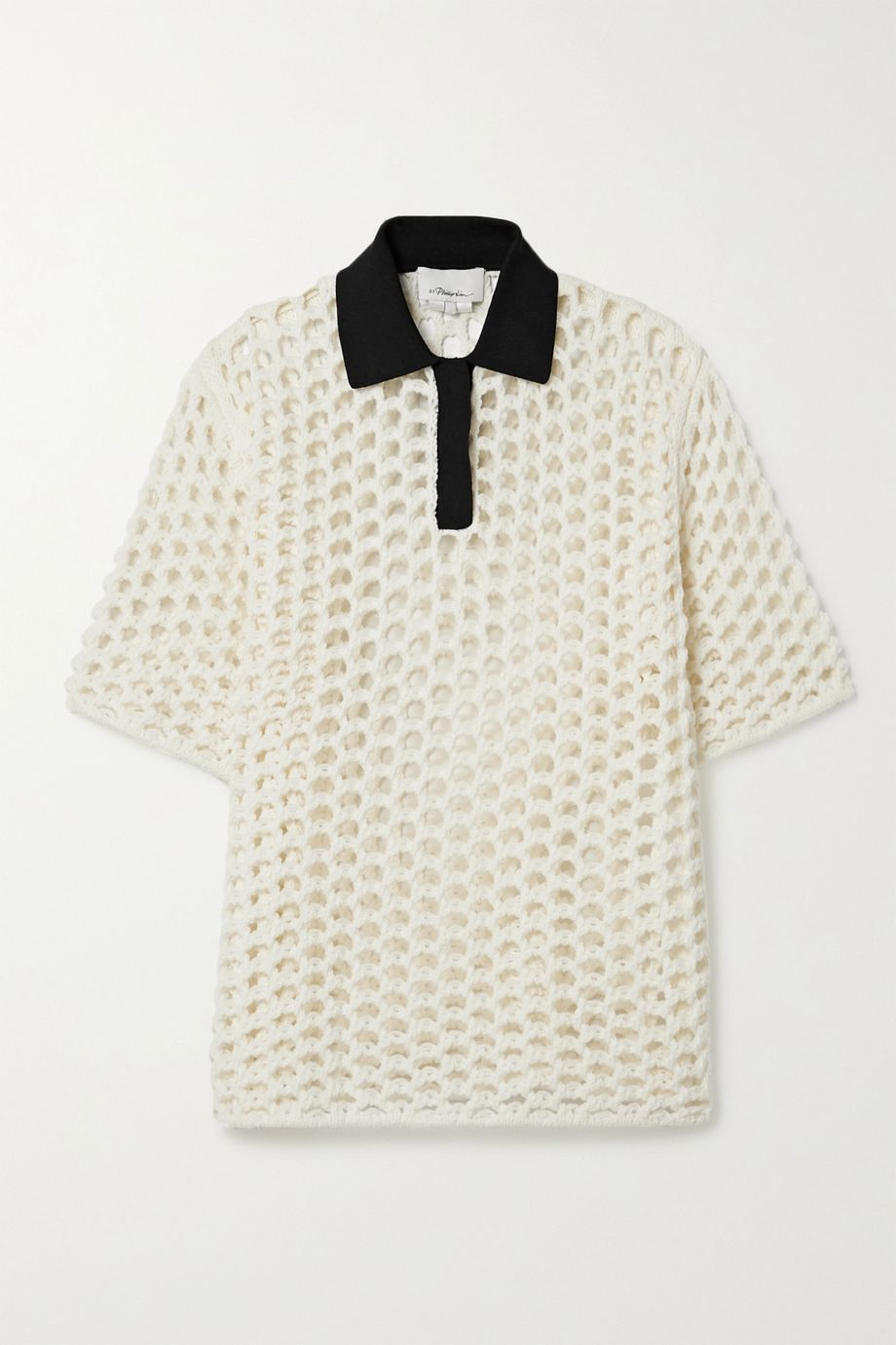 3.1 Phillip Lim Jersey-trimmed macramé wool top