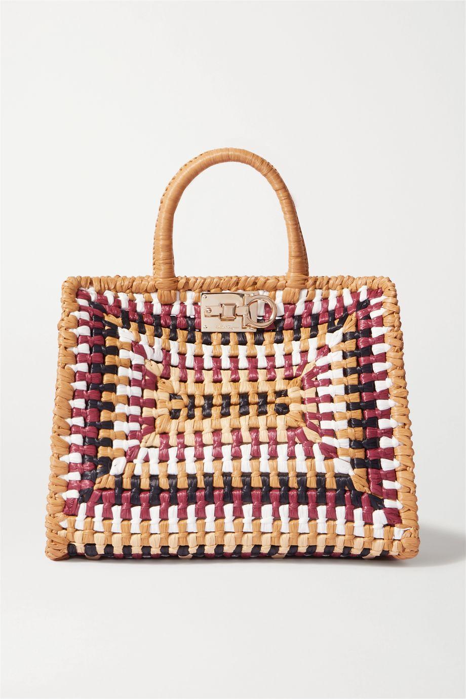 Salvatore Ferragamo The Studio Basket woven raffia tote