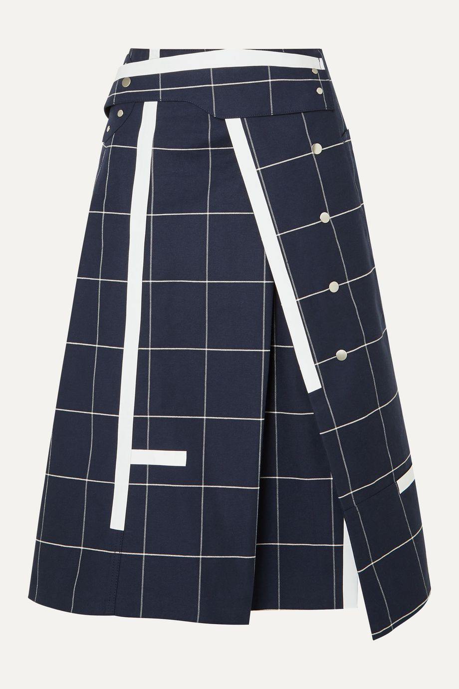 3.1 Phillip Lim Checked cotton-blend twill midi skirt