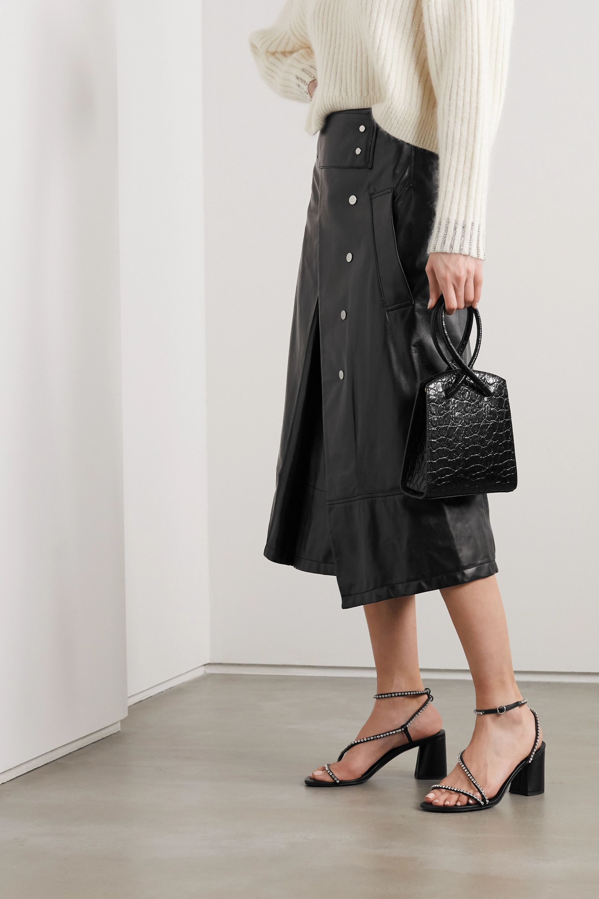 3.1 Phillip Lim Button-detailed pleated leather wrap skirt