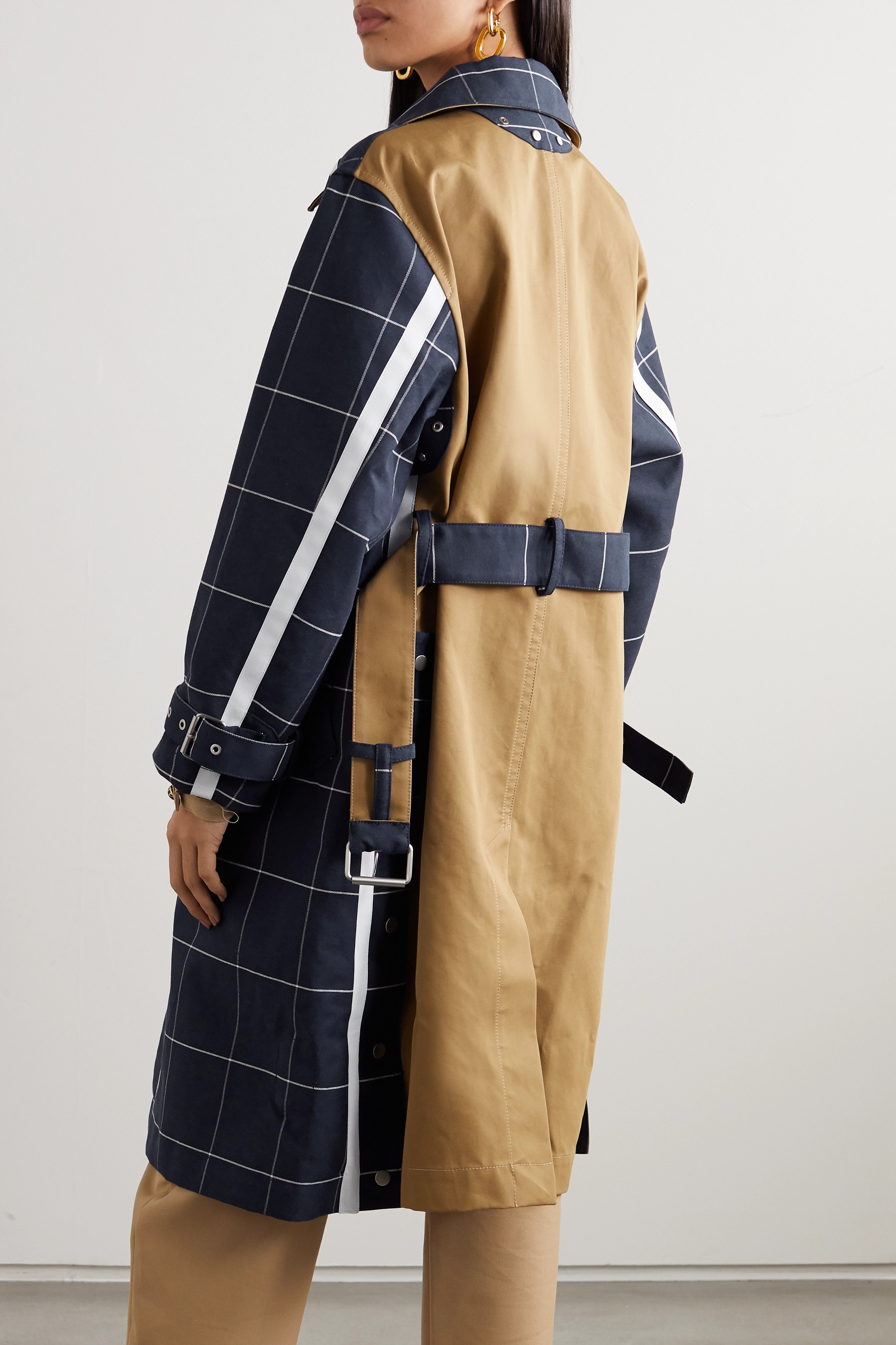3.1 Phillip Lim Belted checked cotton-blend garbadine trench coat