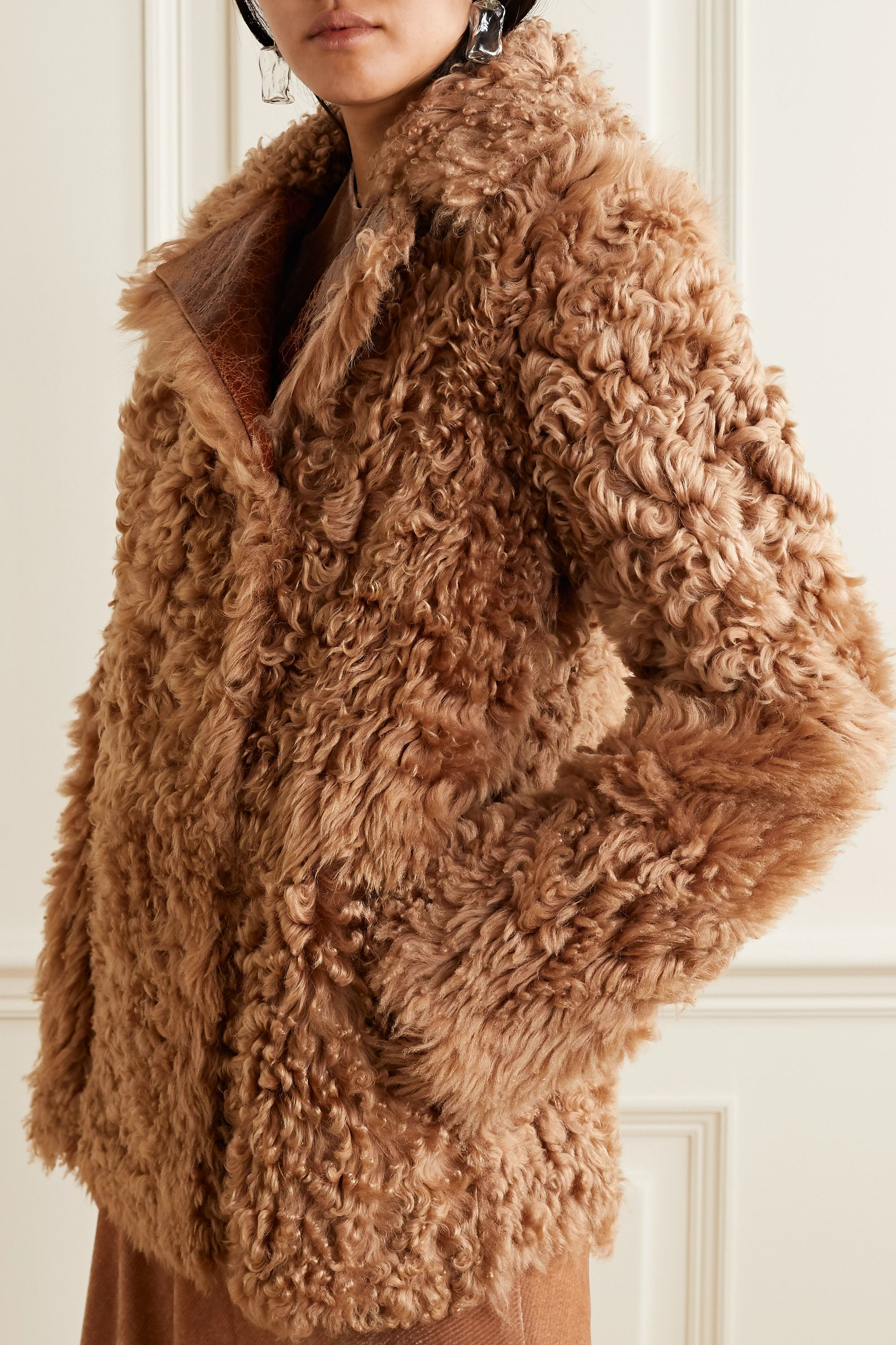 Sies Marjan Pippa oversized reversible glossed cracked-leather and shearling coat