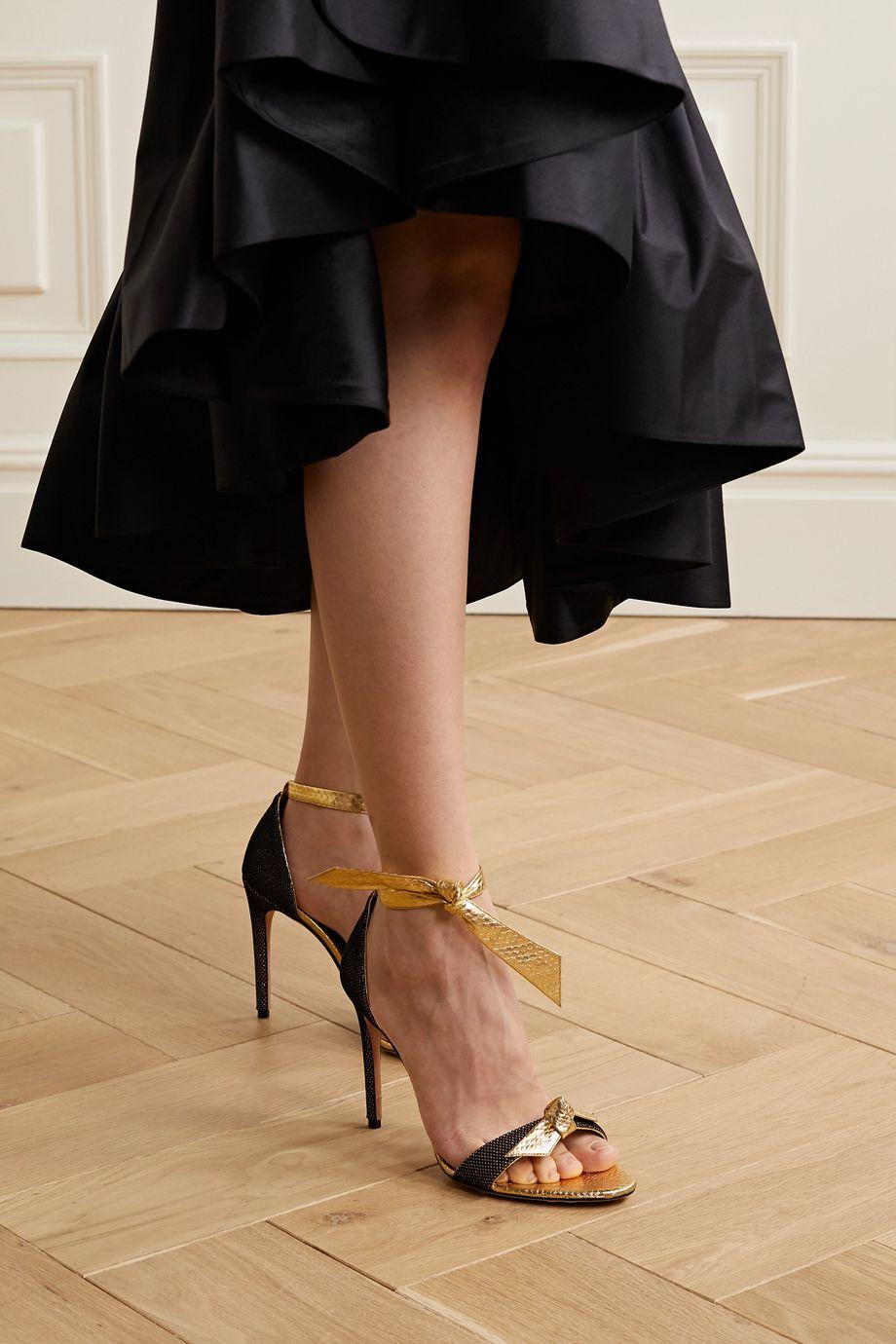 Alexandre Birman Clarita mesh-trimmed bow-embellished metallic watersnake sandals