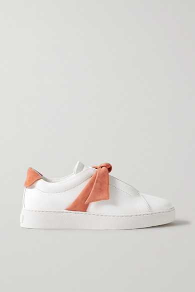 Alexandre Birman Flats CLARITA BOW-EMBELLISHED SUEDE-TRIMMED LEATHER SLIP-ON SNEAKERS
