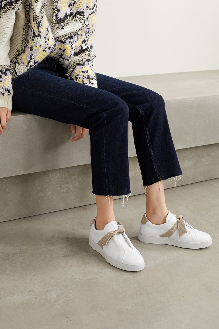 Alexandre Birman Clarita bow-embellished Lurex-trimmed leather slip-on sneakers