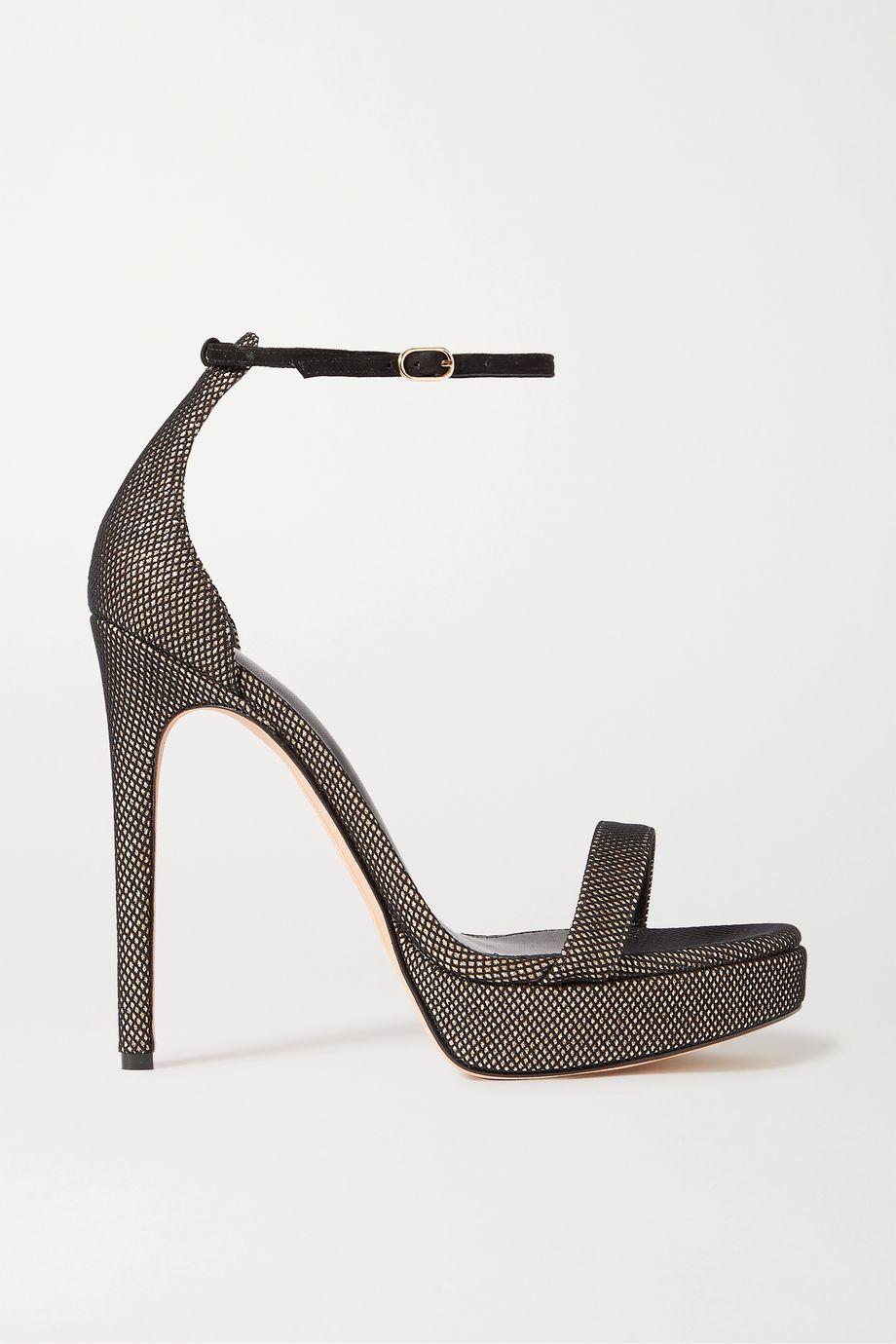 Alexandre Birman Cindy mesh and metallic leather platform sandals