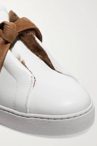 Alexandre Birman Sneakers Clarita bow-embellished faux shearling-lined leather slip-on sneakers
