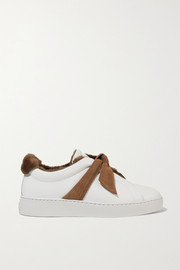 Clarita bow-embellished faux shearling-lined leather slip-on sneakers
