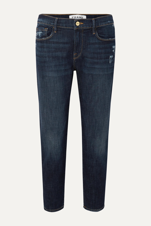 FRAME Le Garcon cropped distressed slim boyfriend jeans