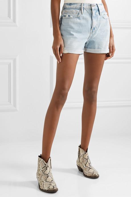 Le Beau distressed denim shorts