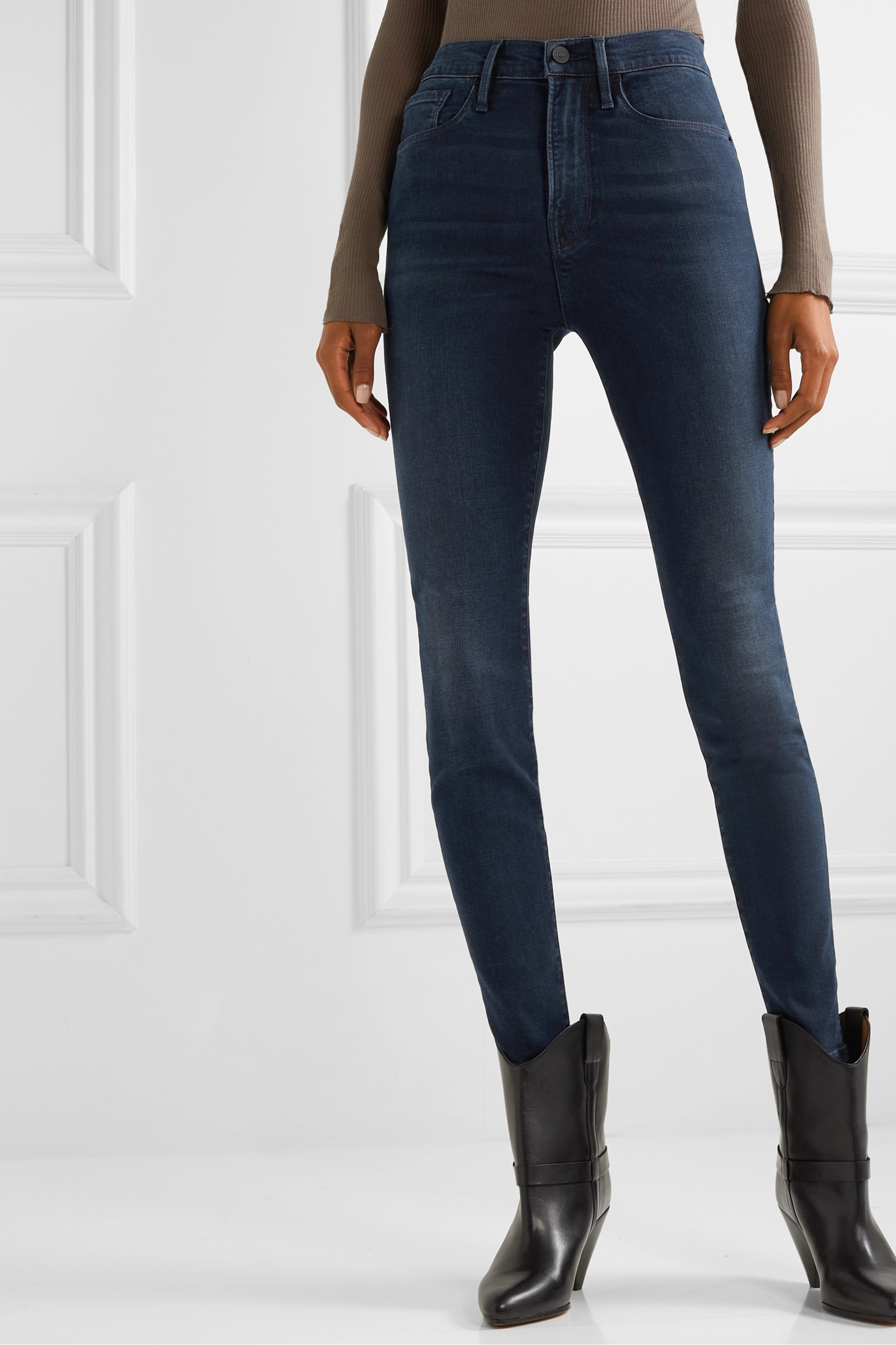 FRAME Le Skinny de Jeanne cropped distressed mid-rise jeans