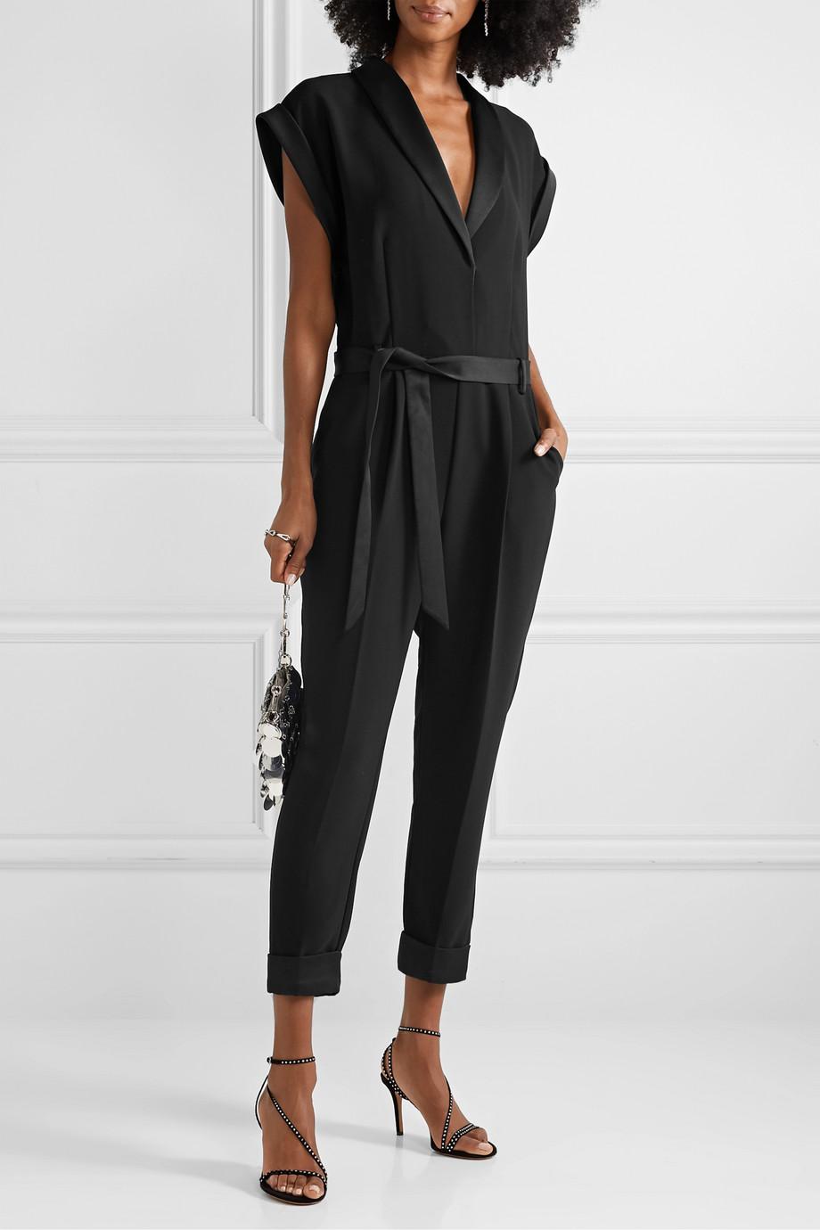 FRAME Tux belted satin-trimmed crepe jumpsuit