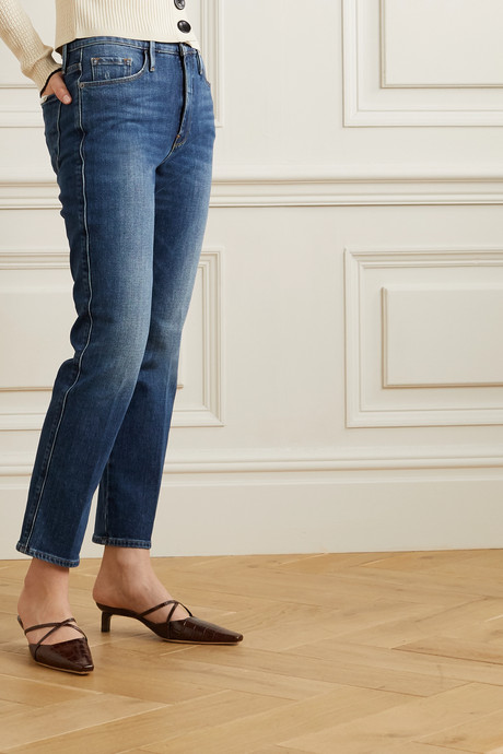 Le Pixie Sylvie cropped high-rise straight-leg jeans