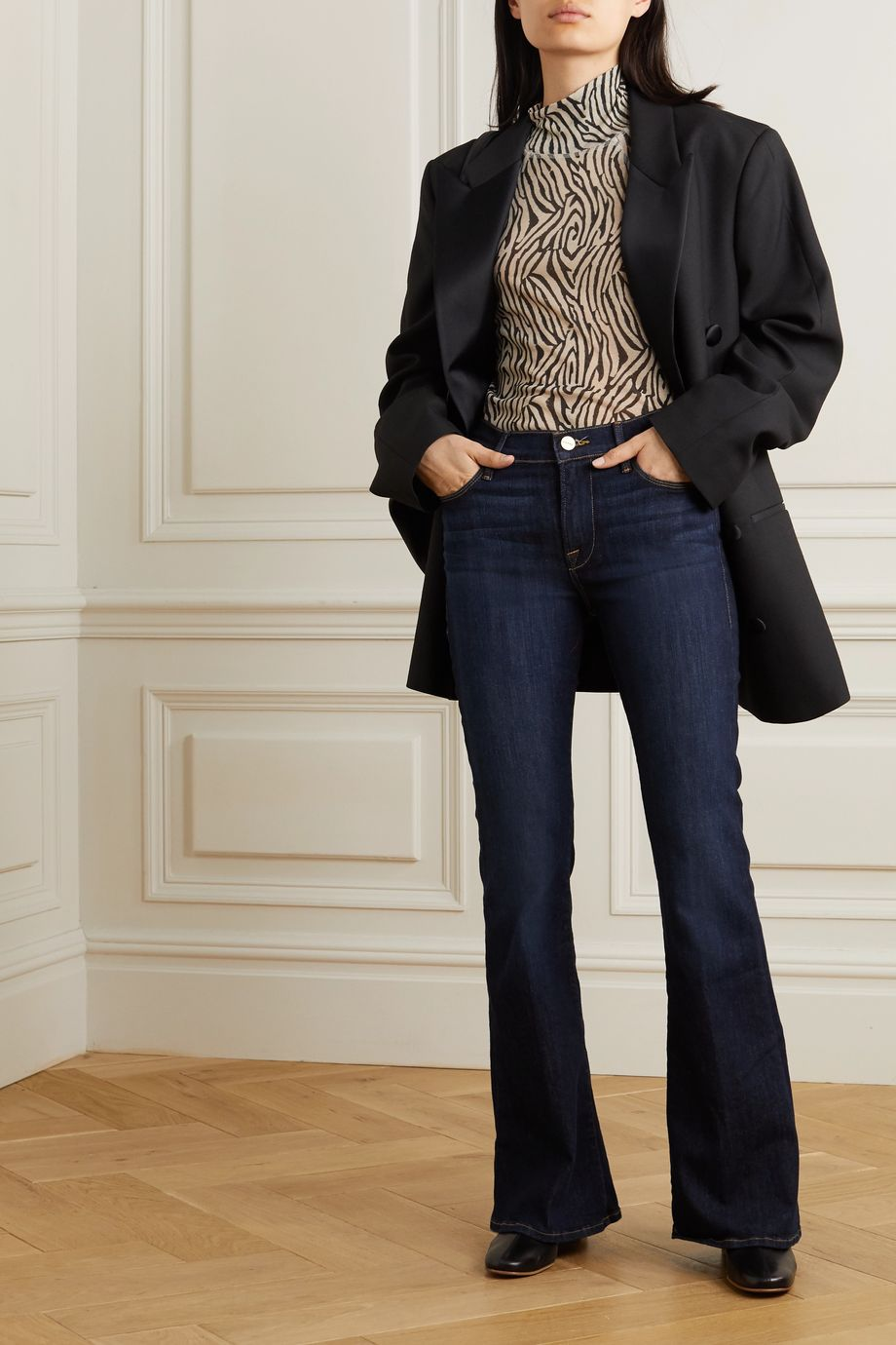 FRAME Le Pixie cropped high-rise flared jeans