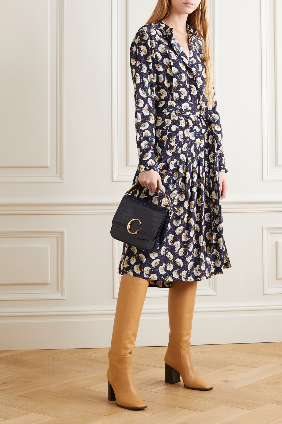Chloé Belted floral-print silk crepe de chine midi dress