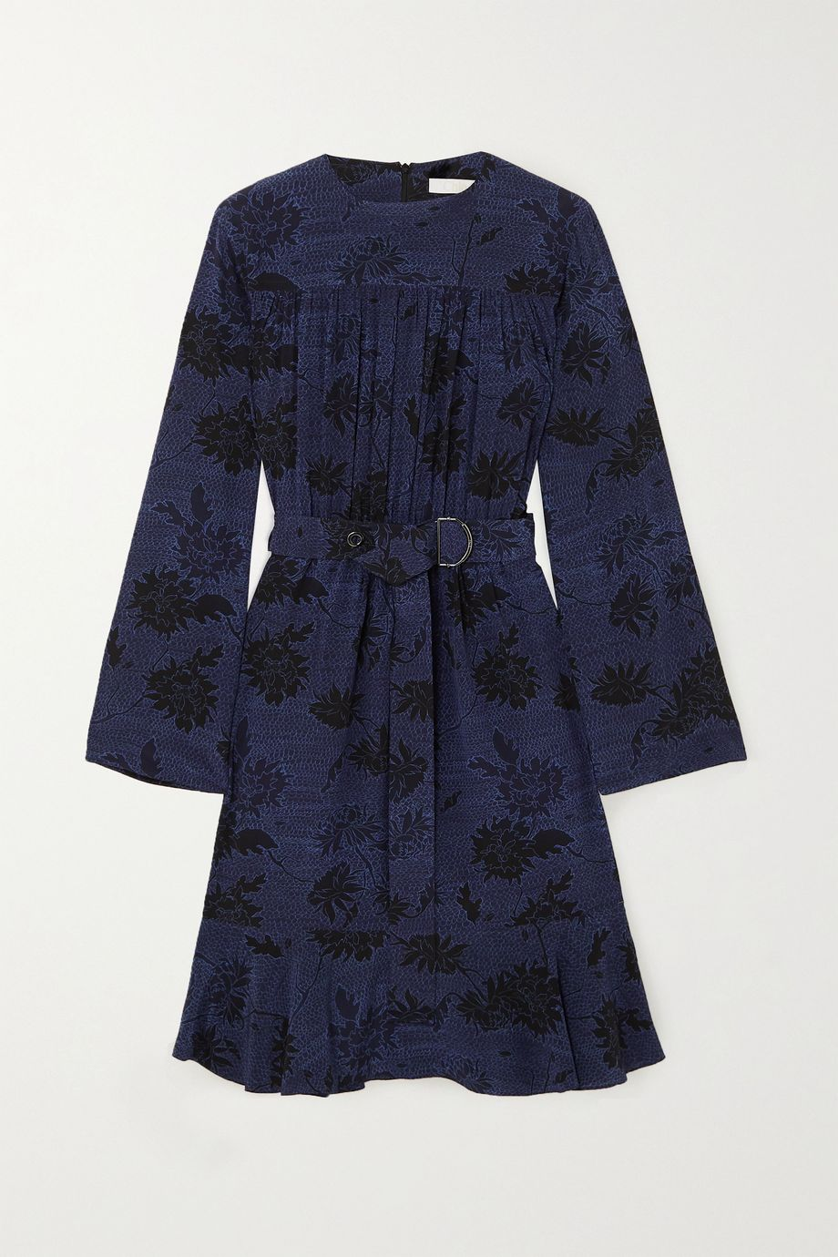 Chloé Belted floral-print silk crepe de chine dress