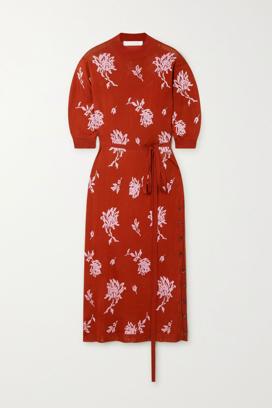 Chloé Belted floral-jacquard midi dress