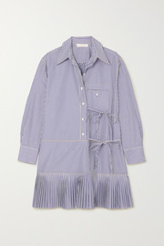 Pleated striped cotton-poplin mini dress