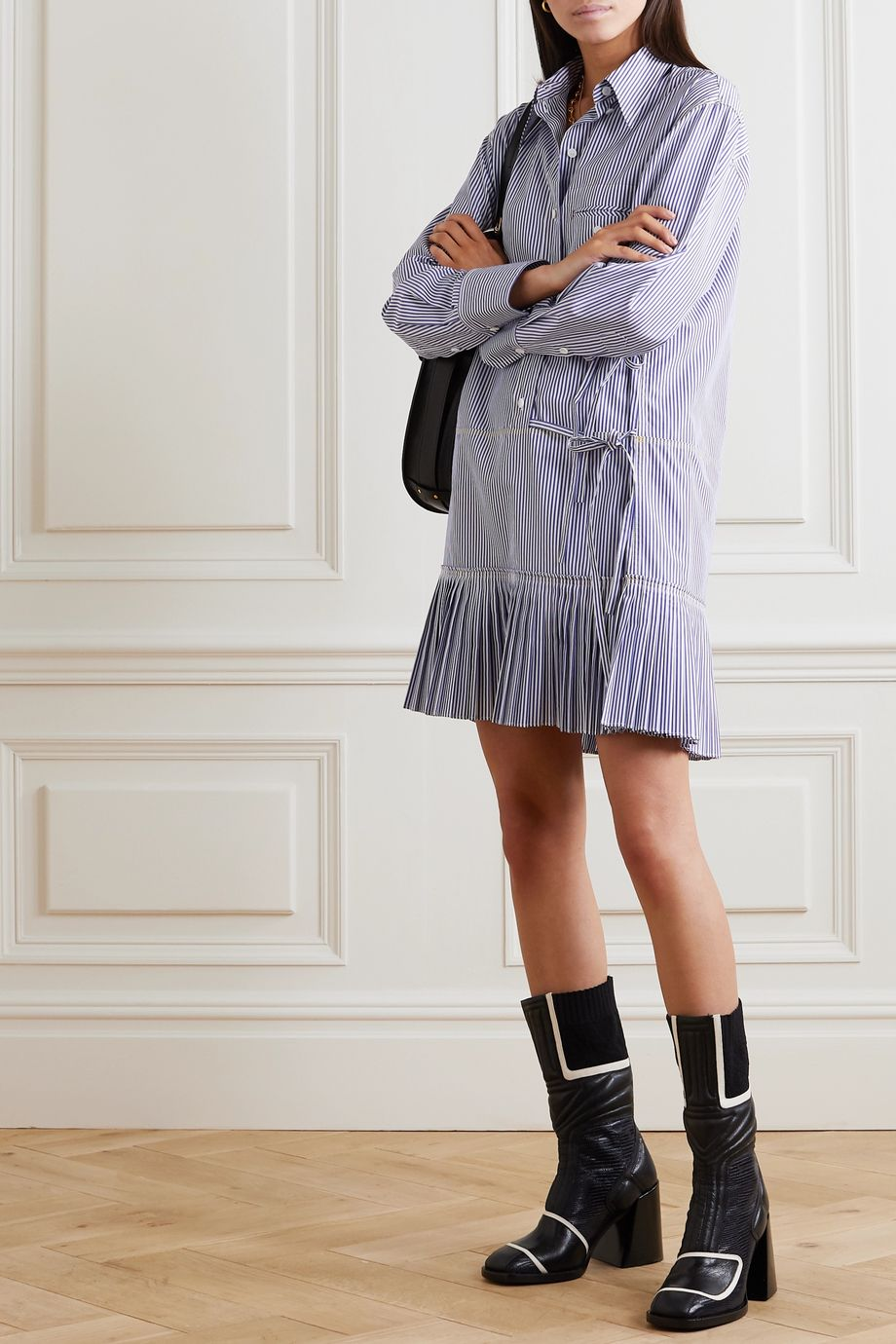 Chloé Pleated striped cotton-poplin mini dress