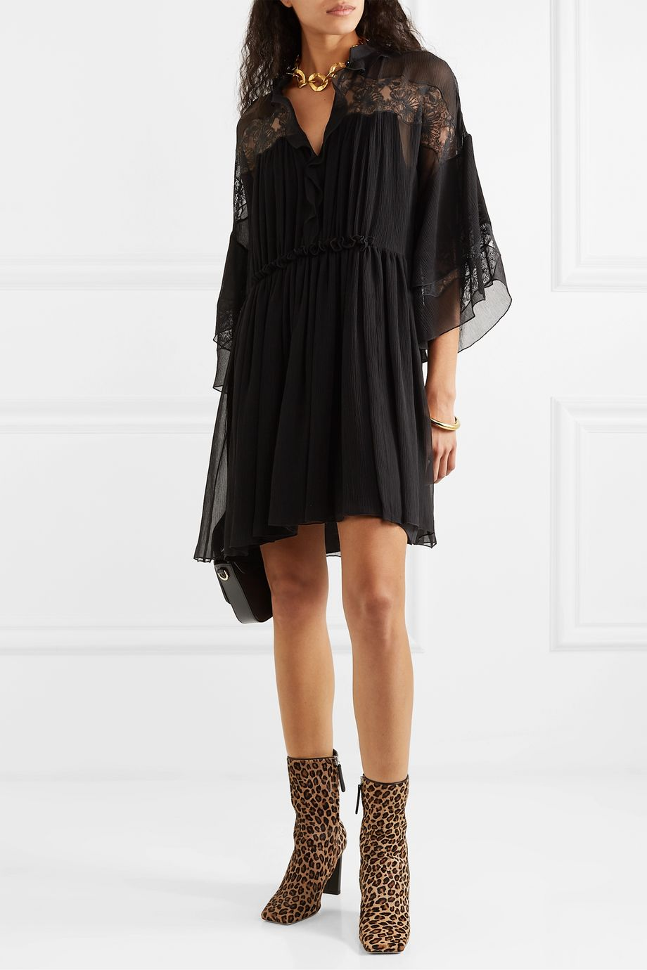 Chloé Lace-paneled ruffled plissé-silk georgette mini dress