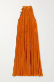 Chloé Ruffled embroidered tulle-trimmed silk-crepon midi dress