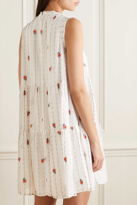 Chloé Gestuftes Minikleid aus Musselin aus einer Seidenmischung