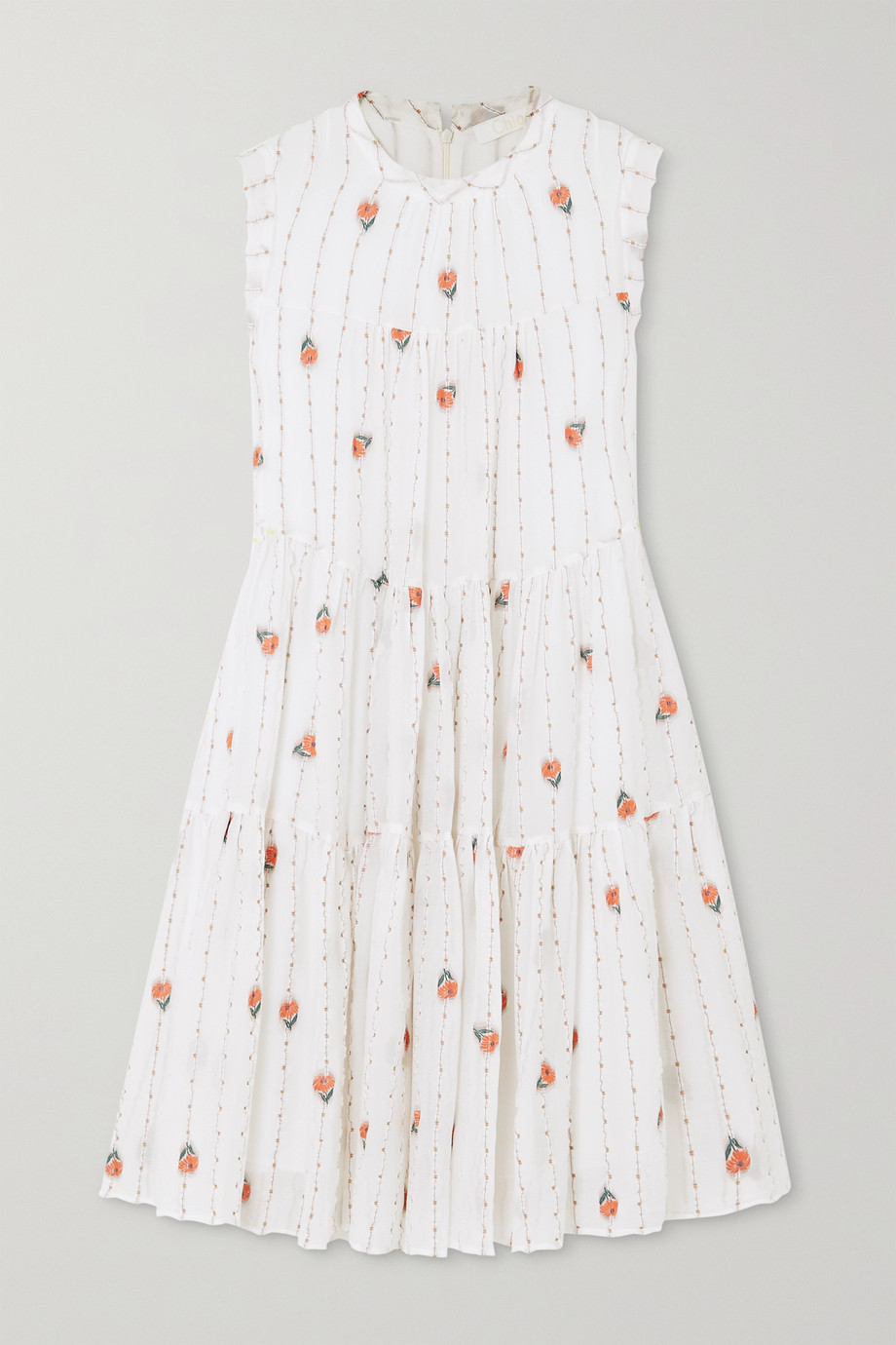 Chloé Tiered silk-blend mousseline mini dress