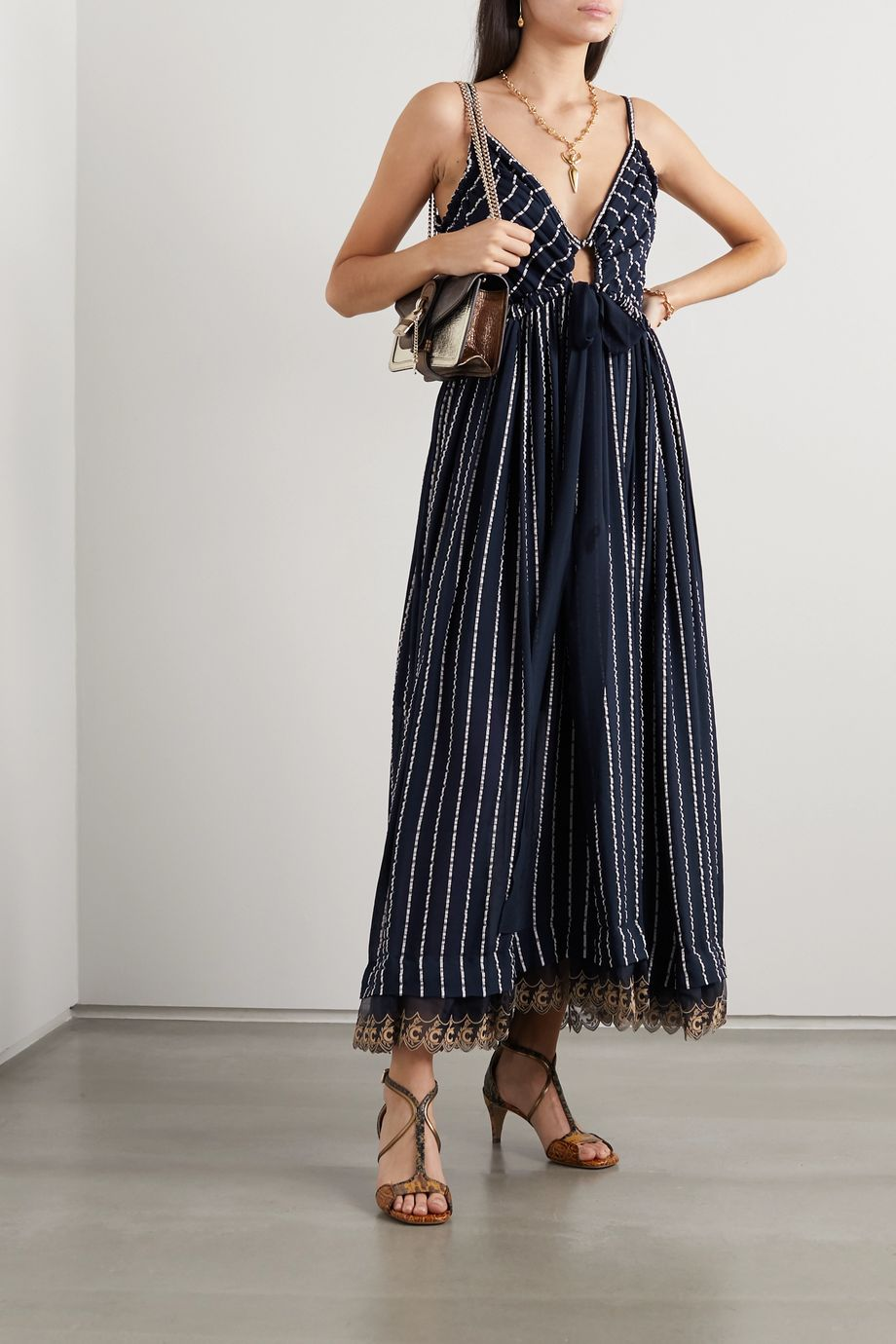 Chloé Striped silk-blend mousseline maxi dress
