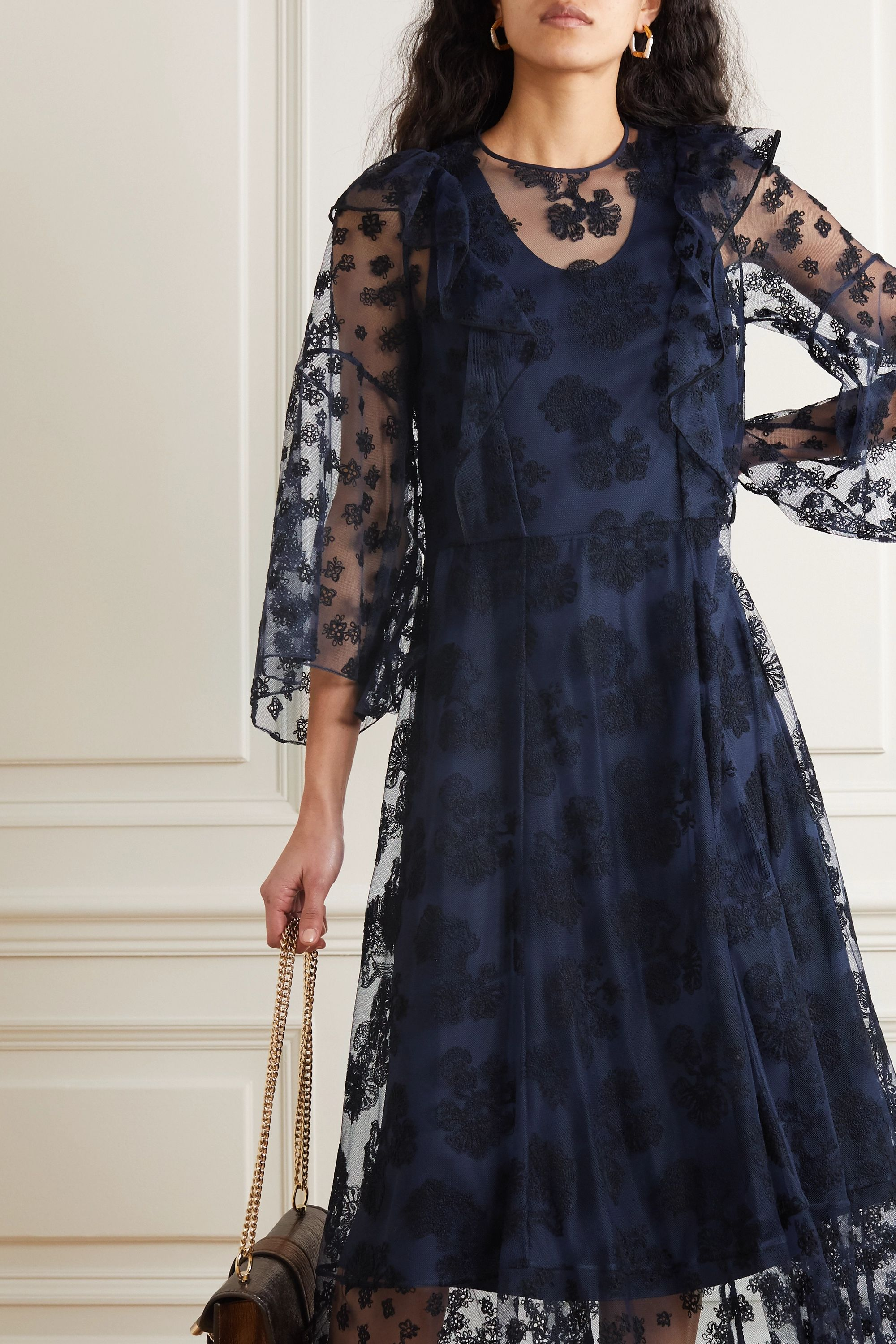 Chloé Ruffled embroidered tulle maxi dress
