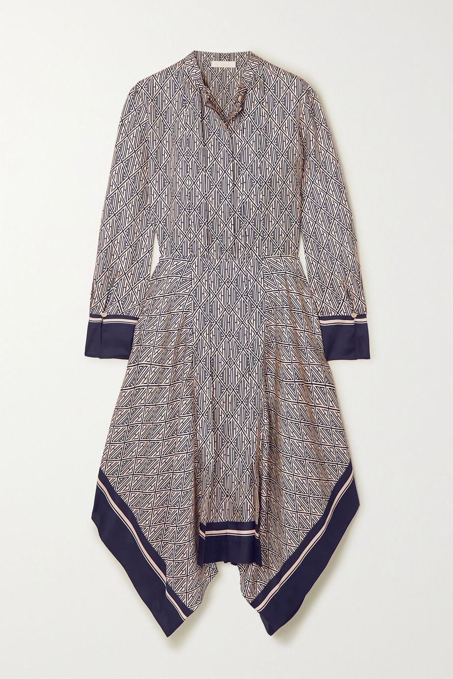 Chloé Robe midi asymétrique en serge de soie imprimée