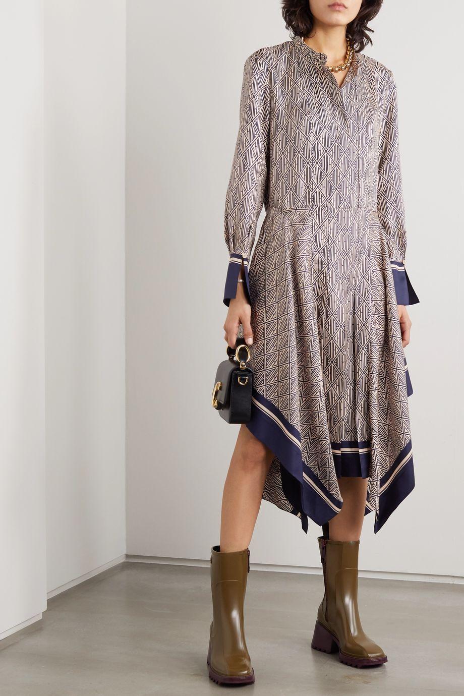 Chloé Asymmetric printed silk-twill midi dress