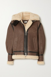 Chloé Hooded leather-trimmed shearling jacket