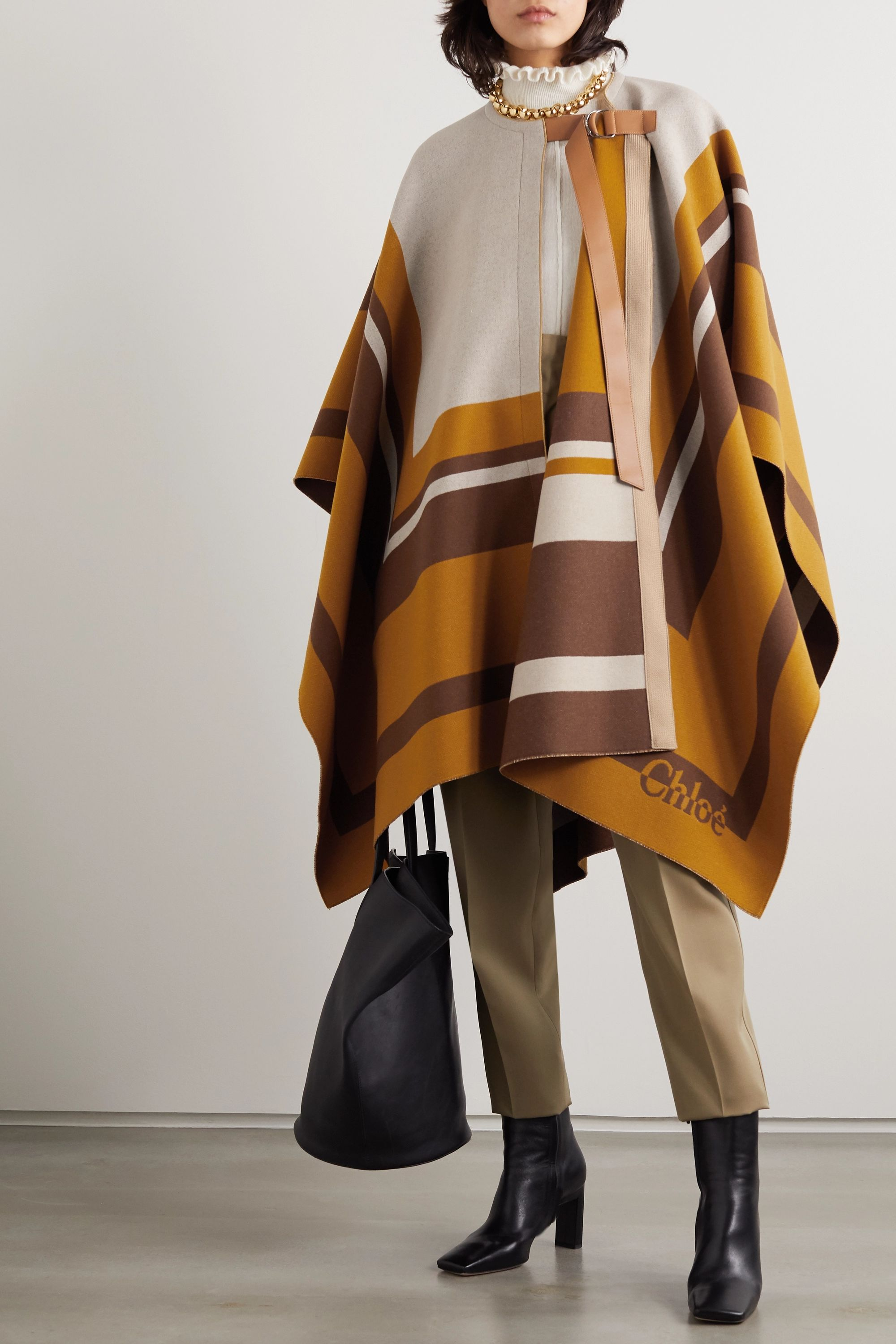 Chloé Leather-trimmed intarsia wool cape