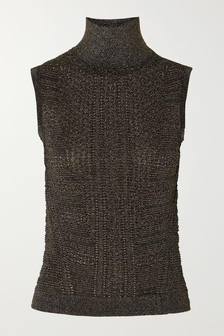 Black Metallic ribbed-knit turtleneck top | Chloé gRVPl7