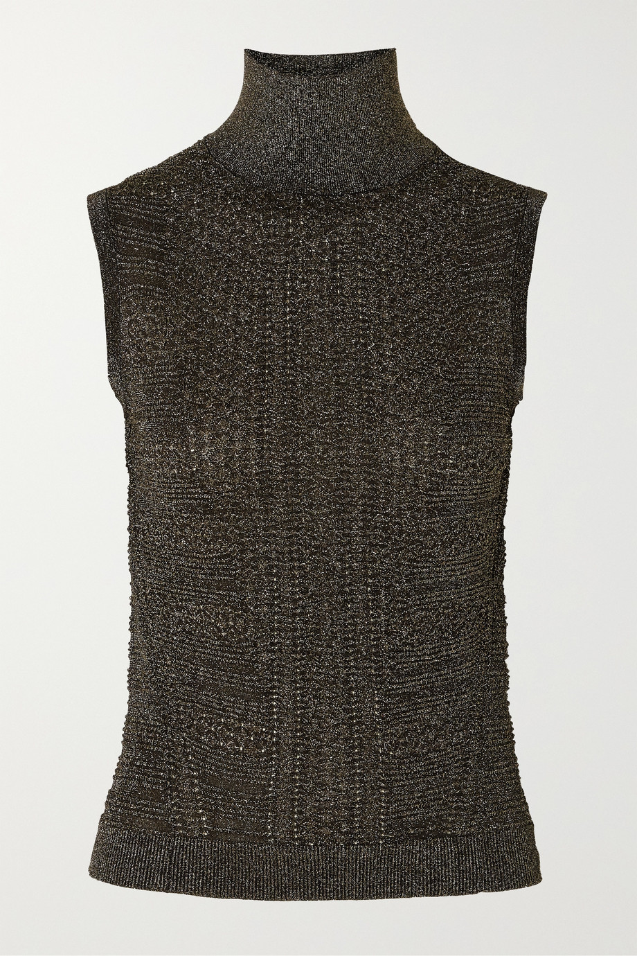 Chloé Metallic ribbed-knit turtleneck top