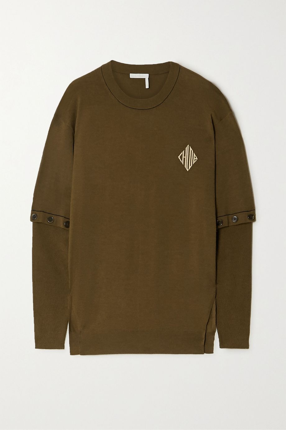 Chloé Convertible intarsia wool-blend sweater